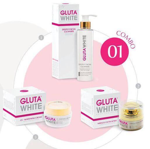 Bộ sản phẩm trị mụn Gluta White