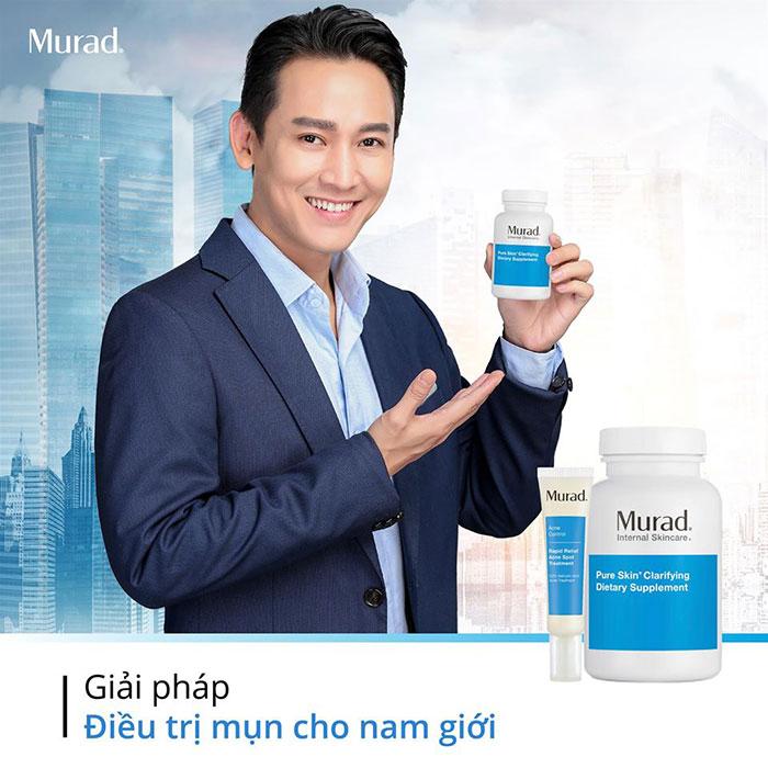 Hứa Vĩ Văn kết hợp sử dụng viên uống giảm mụn + gel giảm mụn 4h Murad