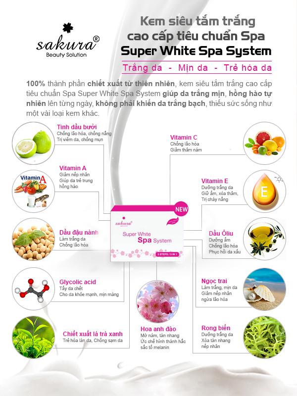Kem siêu tắm trắng cao cấp Super White Spa System: 100% chiết xuất từ nguyên liệu tự nhiên!