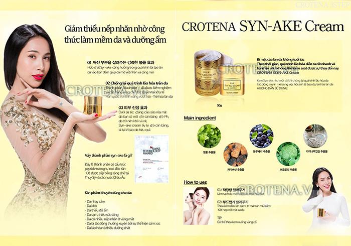 Thành phần tự nhiên cùng tinh chất nọc rắn giúp dưỡng da, chống lão hoá của Crotena Syn-Ake Cream