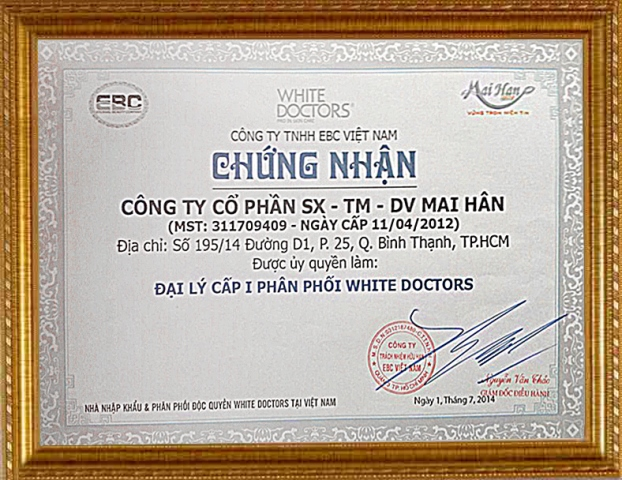 Giấy chứng nhận ủy quyền làm Đại lý cấp I phân phối White Doctors từ Công ty TNHH EBC Việt Nam cấp cho Mỹ Phẩm Mai Hân