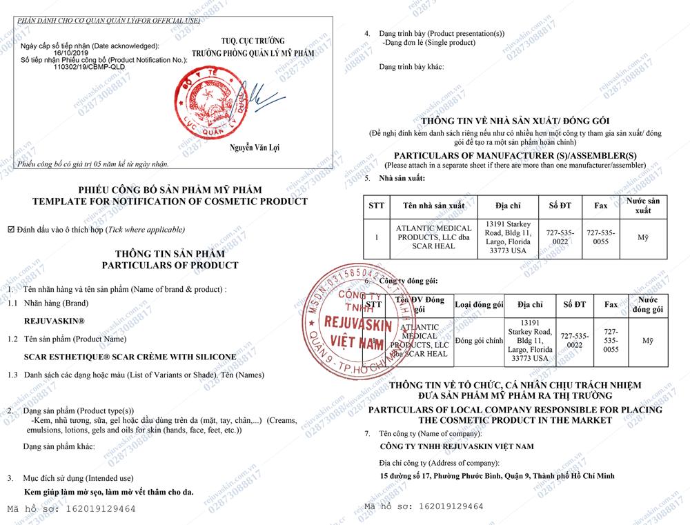 Giấy chứng nhận khẩu và lưu hành kem trị sẹo Scar Esthetique tại Việt Nam