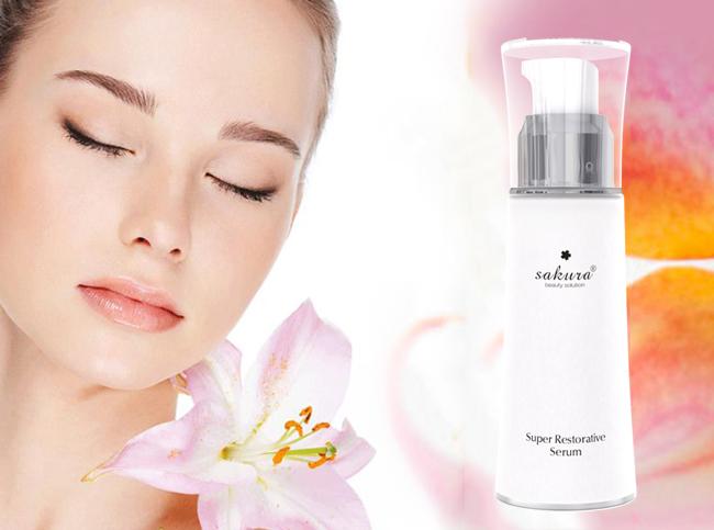 Hỗn hợp dưỡng trắng da chống lão hóa ngày và đêm Sakura Super White Complex Excellent Skin Lightening