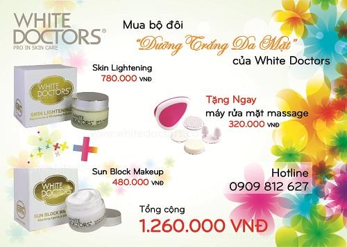 Mua bộ đôi dưỡng trắng da mặt White Doctors được tặng 1 máy rửa mặt trị giá 250.000 đồng