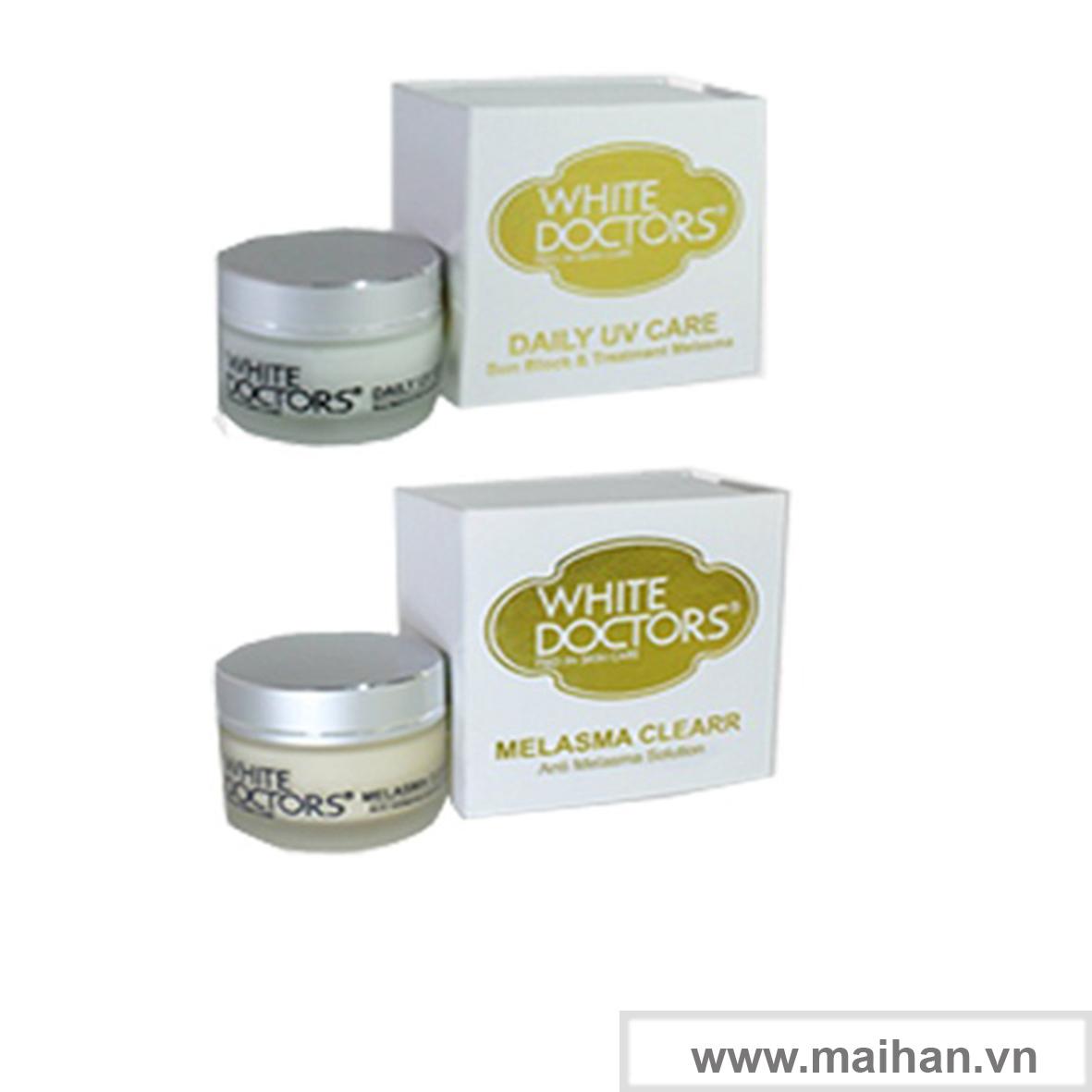Bộ đôi  hỗ trợ điều trị nám da của White Doctors - Daily UV Care & Melasma Clearr