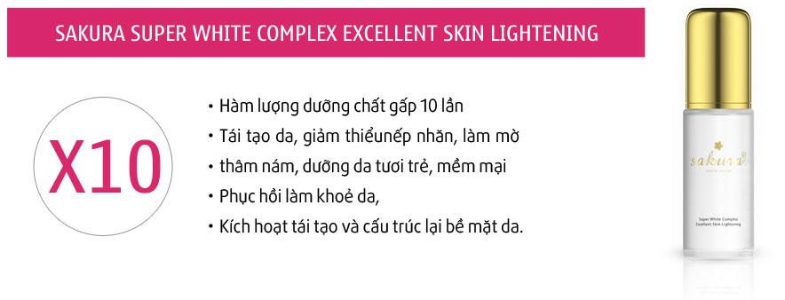 Hỗn hợp kem dưỡng trắng da chống lão hóa ngày và đêm Sakura Super White Complex Excellent Skin Lightening