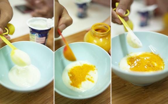 Bột nghệ, bột gạo và sữa chua