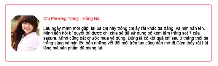 Chia sẻ của chị phương Trang Đồng Nai về hiệu quả của kem tắm trắng Sakura