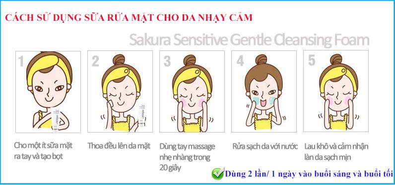Sử dụng sữa rửa mặt cho da nhạy cảm Sakura 1-2 lần/ 1 ngày
