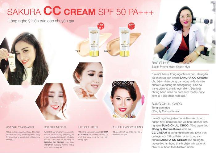 Chuyên gia nói gì về kem dưỡng da trang điểm chống nắng Sakura CC Cream
