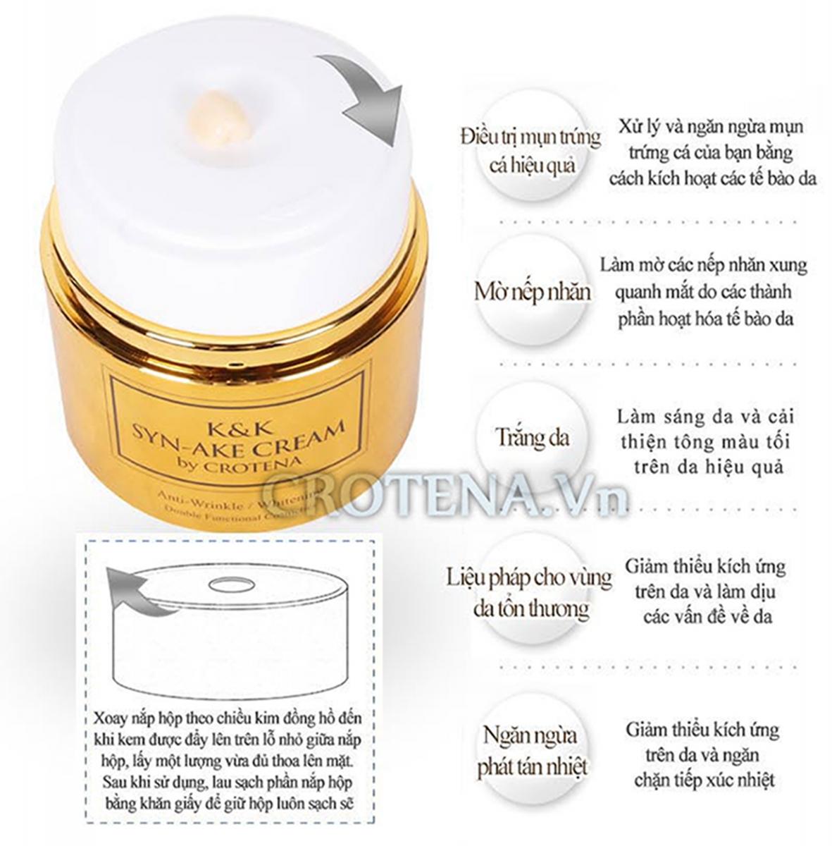 Thiết kế bao bì thông minh, sang trọng của Kem dưỡng trắng da chống lão hoá ban đêm Crotena Syn-Ake Cream