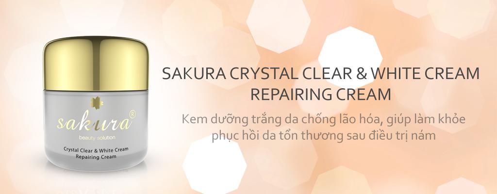 Kem dưỡng trắng, phục hồi da ban đêm Sakura Crystal Clear White & Repairing Cream