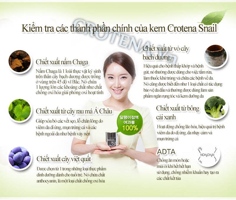 Kem dưỡng trắng da ban ngày Crotena Snail Cream có thành phần chiết xuất hoàn toàn từ thiên nhiên