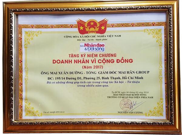 """Ông Mai Xuân Dưỡng - Tổng giám đốc Mai Hân Group vinh dự nhận danh hiệu """"Doanh Nhân Vì Cộng Đồng"""" năm 2017 hình ảnh 6"""