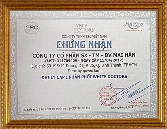 Giấy chứng nhận đại lý cấp I phân phối White Doctors của Mỹ phẩm Mai Hân