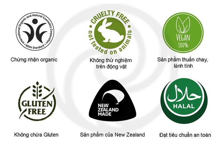 Sensitive Cleanser Living Nature đạt đầy đủ các chứng nhận hiệu quả và an toàn của các tổ chức quốc tế
