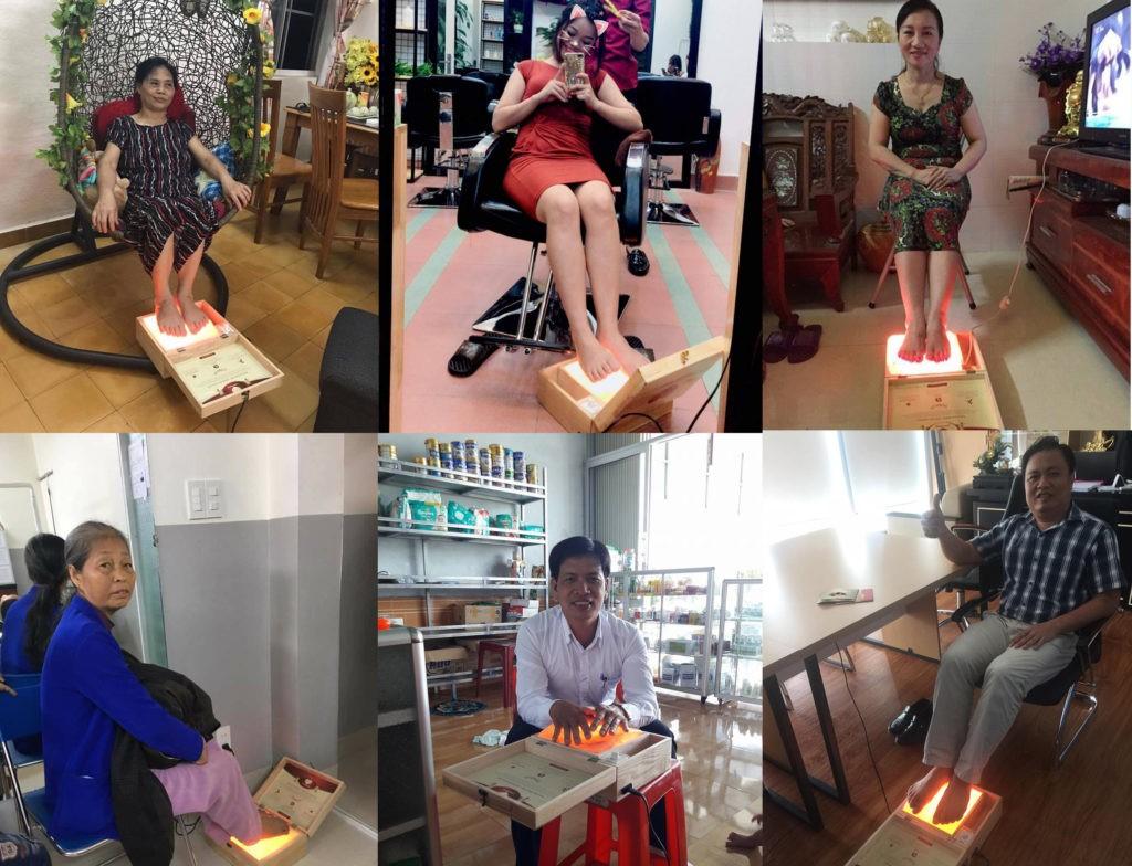 Hộp đá muối massage chân Love Stone đang được mọi người sử dụng để cải thiện sức khỏe trong mùa hè