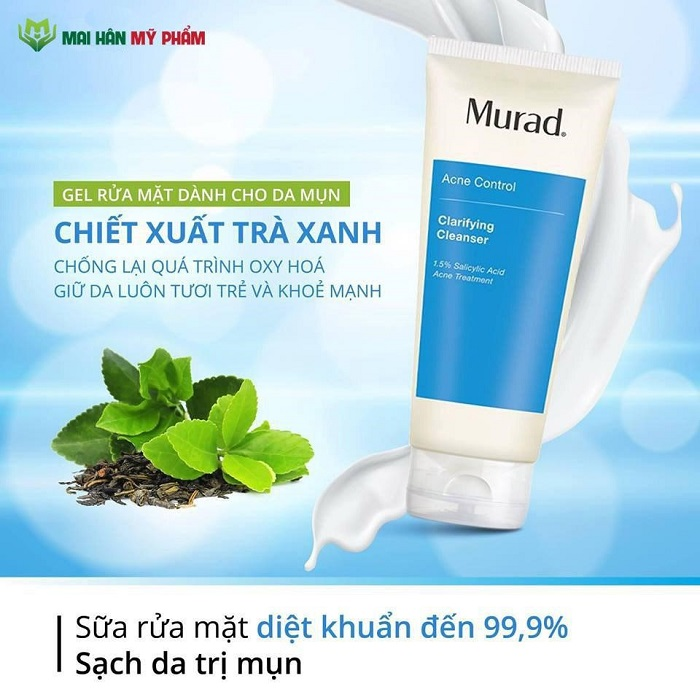 Tinh chất trà xanh giúp kháng viêm và chống oxy hóa cho làn da hết mụn, mịn màng, tươi mới