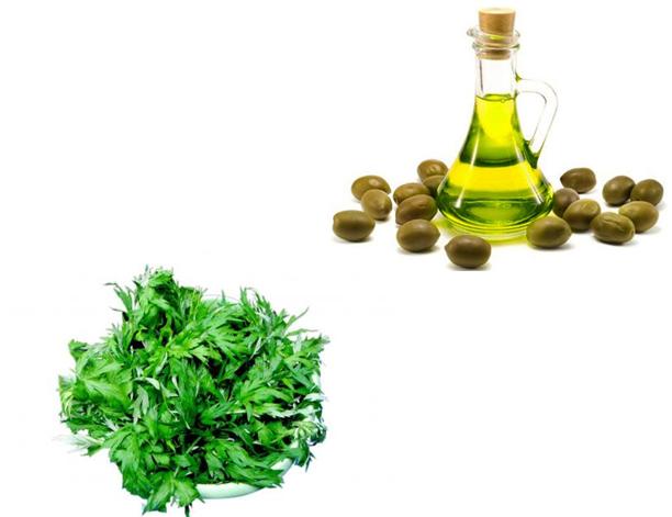 Sự kết hợp giữa ngải cứu và dầu oliu sẽ giúp vết sẹo nhanh chóng mờ đi