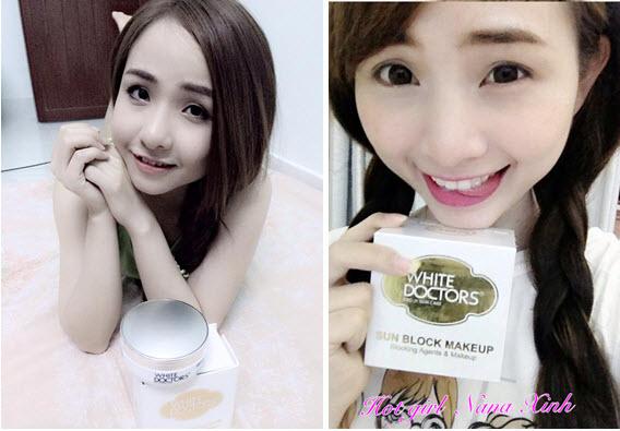 Kem chống nắng trang điểm mặt White Doctors là bí quyết bảo vệ da của Hot girl Nana Xinh