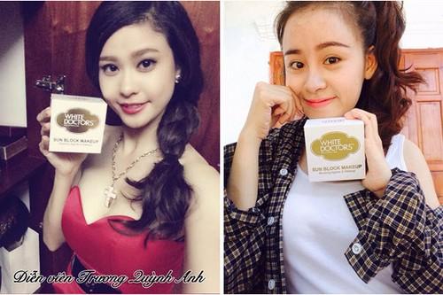Phạm Quỳnh Anh và Lê Thị Huyền Anh ( Bà Tưng) đánh giá cao về hiệu quả của kem chống nắng trang điểm mặt White Doctors