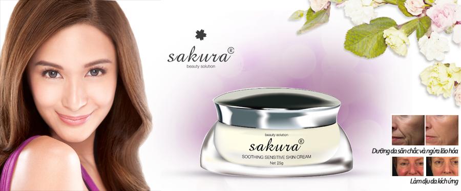 Kem dưỡng dành cho da nhạy cảm Sakura giúp giảm thiểu tối đa sử mẩn đỏ, ngứa rát