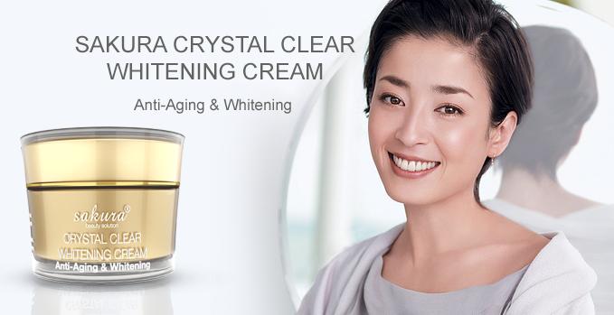 Kem dưỡng trắng da chống lão hóa Sakura Crystal Clear Whitening Cream Anti Aging