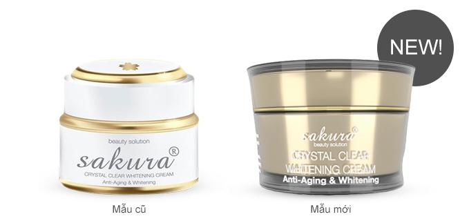 Mẫu mới và cũ của Kem dưỡng trắng da chống lão hóa sakura