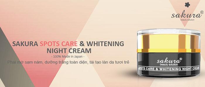 Kem hỗ trợ giảm nám Sakura Spots Care & Whitening Night Cream