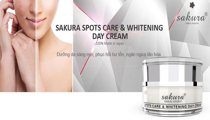 Kem dưỡng trắng da, làm mờ thâm nám cao cấp Sakura Spots Care & Whitening Day Cream