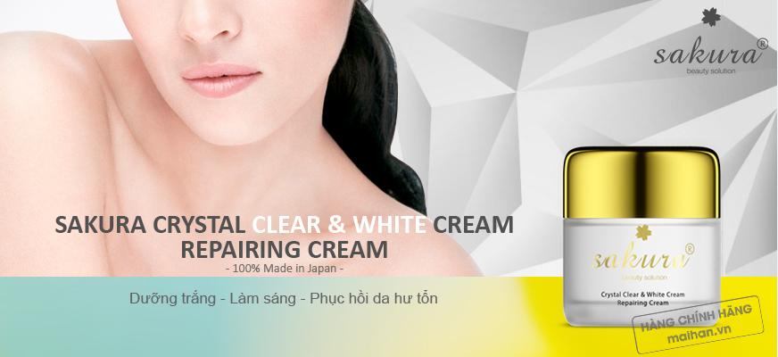 Kem dưỡng trắng chống lão hóa phục hồi da Sakura Crystal Clear & White Cream Repairing Cream