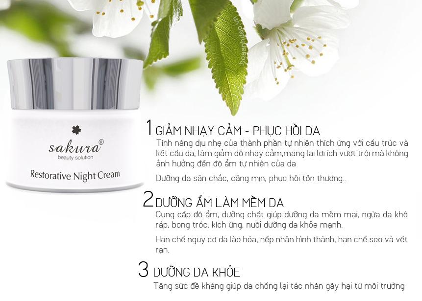 Kem dưỡng trắng phục hồi ban đêm Sakura cho làn da trẻ mãi cùng thời gian