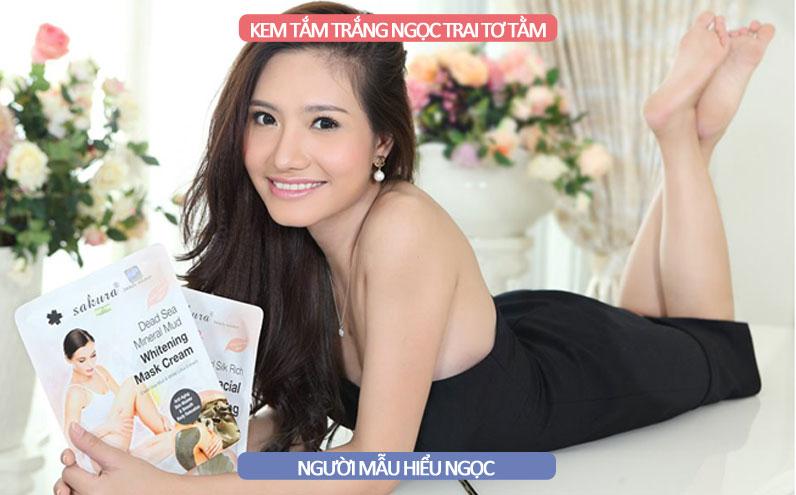 Người mẫu Hiểu Ngọc rất yêu thích dòng sản phẩm kem tắm tơ tằm ngọc trai Sakura