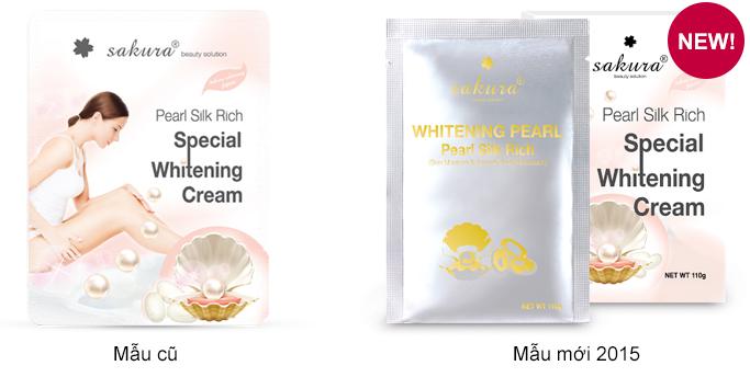 Mẫu mã mới của Kem tắm trắng Sakura Pearl Silk Rich Special Whitening Cream