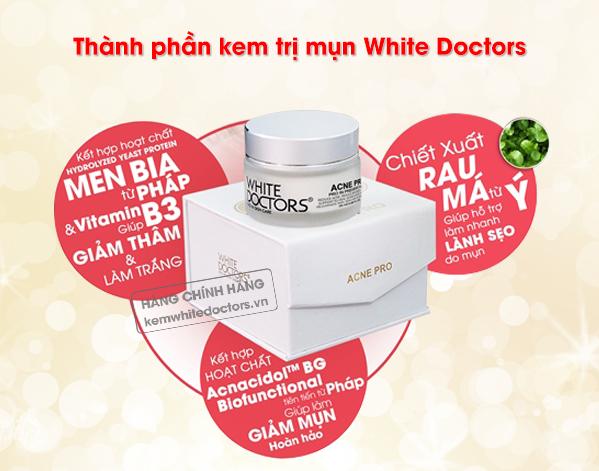 Thành phần trong bộ đôi chữa mụn White Doctors