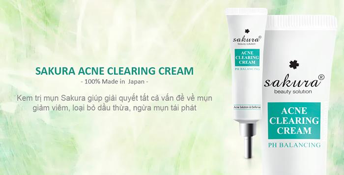 Kem hỗ trợ điều trị mụn Sakura Acne Clearing Cream