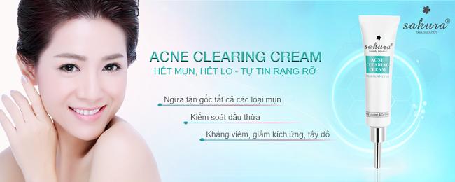 Kem hỗ trợ điều trị mụn Sakura Acne Clearing Cream trị mụn nước ở tay tận gốc