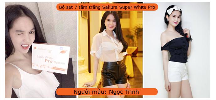 Ngọc Trinh rất hài lòng về hiệu quả của kem tắm trắng Sakura Super White Pro System