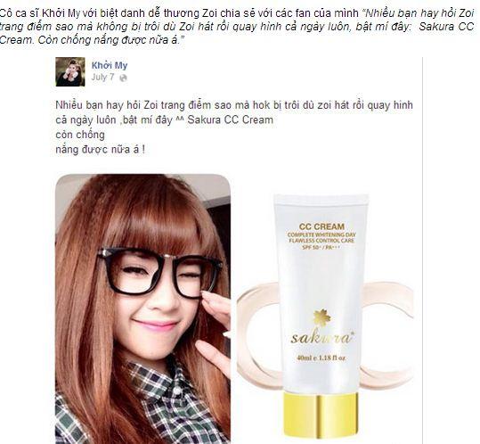 Chia sẻ của ca sĩ Khởi My trên facebook khi dùng kem dưỡng da trang điểm Sakura