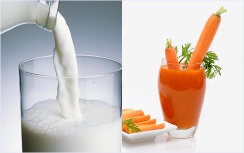 Mặt nạ dưỡng ẩm bằng sữa tươi và nước ép cà rốt thực hiện đơn giản