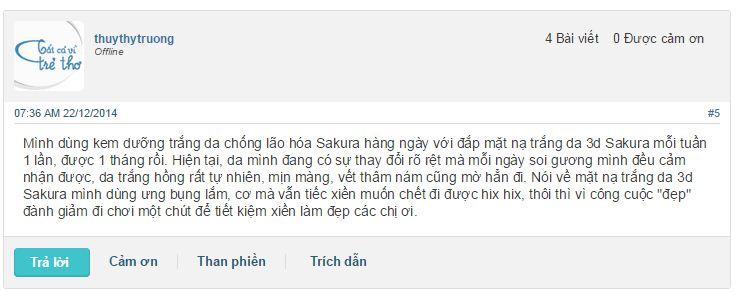 Những phản hồi của người dùng webtretho về mặt nạ trắng da Sakura 3D