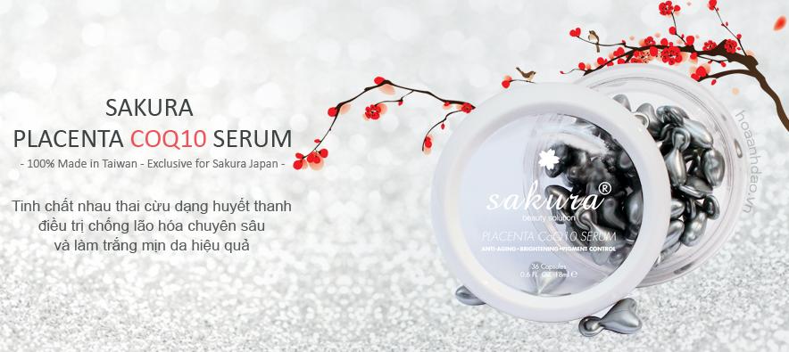 Serum dưỡng trắng da chống lão hóa Serum Sakura Placenta CoQ10