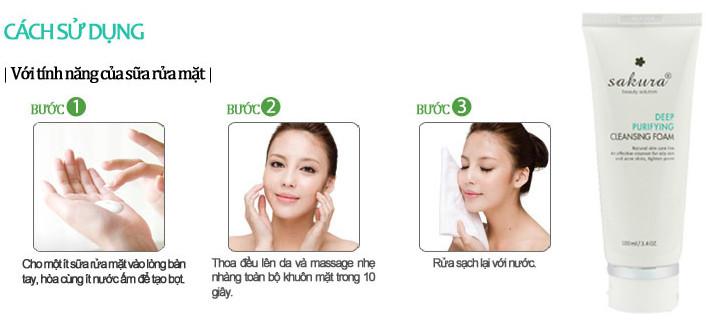Cách sử dụng sữa rửa mặt trị mụn dành cho da nhờn Sakura