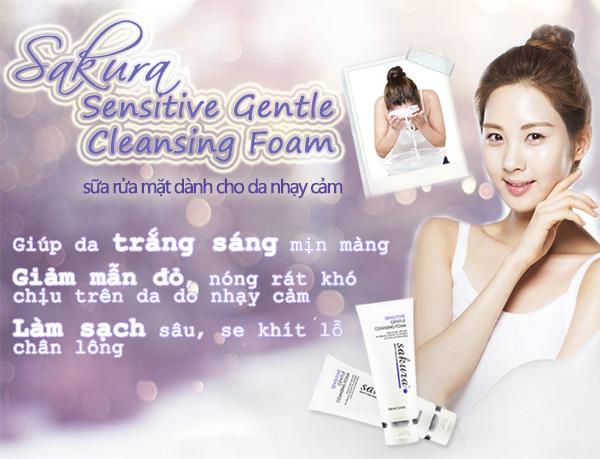 Sữa rửa mặt trị mụn cho da nhạy cảm Sakura Sensitive Gentle Cleansing Foam