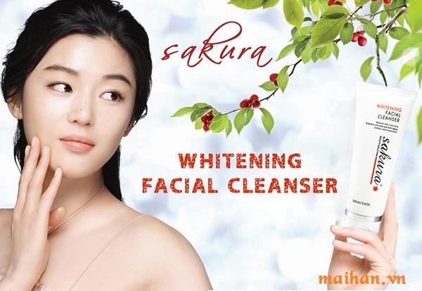 Sữa rửa mặt trắng da Sakura làm sạch và cải thiện độ trắng sáng của làn da