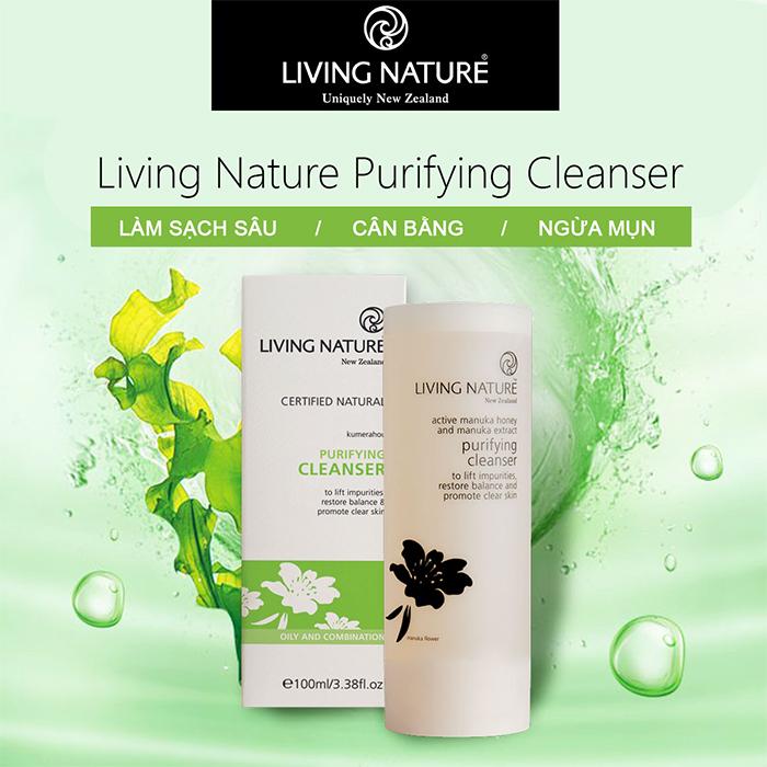 Sữa rửa mặt Purifying Cleanser Living Nature nhẹ nhàng làm sạch làn da mà không lấy đi độ ẩm tự nhiên