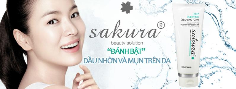 Sữa rửa mặt trị mụn cho da nhờn Sakura làm sạch da tận sâu lỗ chân lông