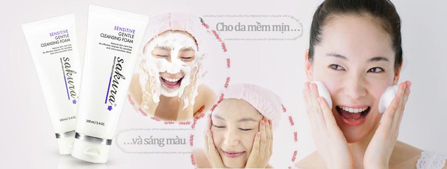 Hướng dẫn sử dụng sữa rửa mặt trị mụn cho da nhạy cảm Sakura