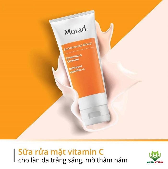Chiết xuất vitamin C có trong sữa rửa mặt Murad giúp da sáng mịn, mờ thâm nám