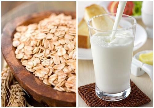 Sữa tươi và bột yến mạch chưa nhiều dưỡng chất giúp nưỡng làn da trắng đẹp từ bên trong